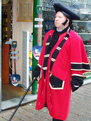I say,he looks rather important ! (billnbenj) Tags: red festival cane gold victorian cumbria cloak ulverston periodcostume dickensian goldstripes dickensianfestival 3corneredhat