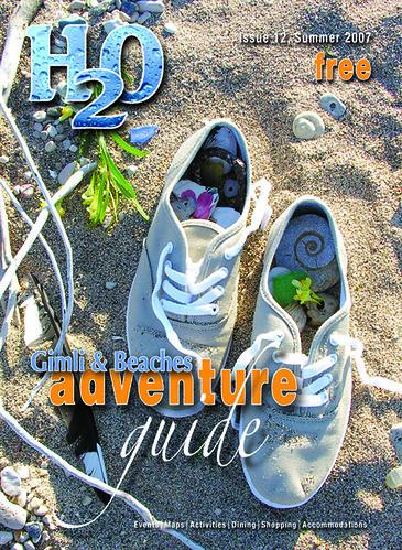 2007 cover of the H2O Guide (anniedaisybaby) Tags: tourism beach magazine sand sneakers manitoba recreation gimli fossils interlake magazinecover beachcombing tourismmagazine h2ogimlibeachesadventureguide