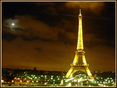 Eiffel Tower (JP..) Tags: light moon paris france nikon nightshot eiffel abigfave