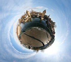 Here comes the winter sun (Man) Tags: city bridge winter panorama sun france tower river village 360 bluesky full strasbourg handheld 360x180 spherical planetoid hugin rhin enblend littleplanet manuperez planetoids patientsil