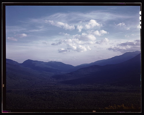A view looking south through the White Mountains from the fire tower manned by Barbara Mortensen, a fire and airplane lookout on Pine Mountain, Gorham vicinity, N.H. (LOC)