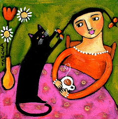 Pig Tail Game 2006 (TASCHA'S GALLERY) Tags: original black cute art cat painting one acrylic folk sold 2006 kind canvas stretched tascha primitive parkinson