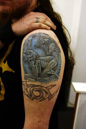 Alien-V's-Predator Tattoo. Tattooed at The Tattoo Studio, Crayford