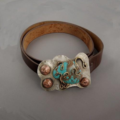 metal belt turquoise ooak buckle