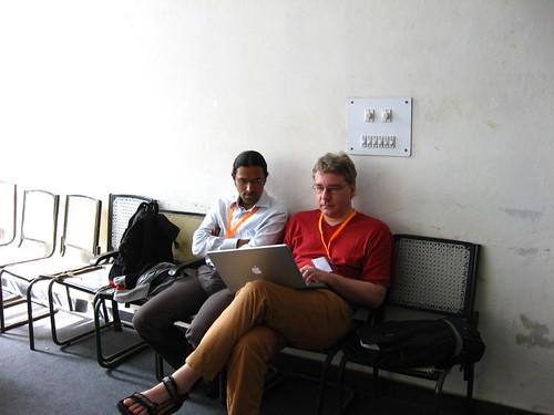 Rahul and Andreas discussing Indic and Scribus