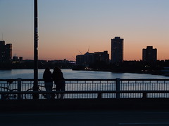 Charles River Sunset (bawoodvine) Tags: bridge cambridge sunset summer people buildings massachusetts bridges sunsets streamsandrivers