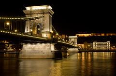 Chain Bridge - Budapest (JM Clark Photography (jamecl99)) Tags: longexposure bridge reflection water night river lights nikon hungary budapest flowing d200 danube chainbridge llovemypic fanflickrtastic