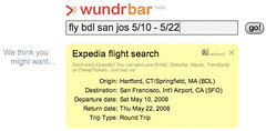screen shot of wundrbar search for flight information