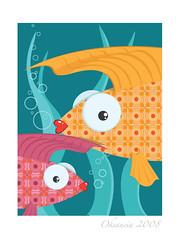 Ornate fish (Oksancia) Tags: life sea fish seaweed cute illustration digital computer design graphics pattern bright cartoon bubbles friendly tropical ornate vector