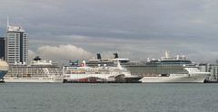 Three Cruise Ships Visit Ports of Auckland (AirflowNZ) Tags: cruiseship portsofauckland auckland newzealand aucklandharbour theworld blackwatch celebritysolstice