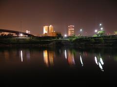 Downtown Tulsa (dsjeffries) Tags: downtowntulsa skyline tulsaskyline reflection water fountain night dark nightti nighttime boktower firstplacetower midcontinenttower bankofamericatower bankofoklahomatower philtower 320sbostonbuilding architecture