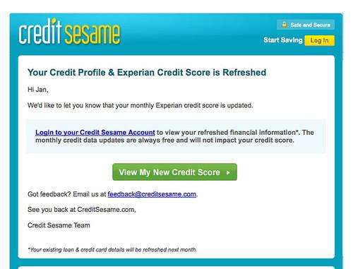 Credit Sesame Email Updates