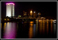 Columbus on the Water (fensterbme) Tags: city longexposure nightphotography bridge urban water skyline interestingness wideangle columbusohio relfection 30d downtowncolumbus weddingphotography canon1022mm ultrawideangle northbankpark interestingness172 i500 canon1022mmf3545efs ultrawidelens fenstermacherphotography columbusparksandrecreation jannaandjoeywedding explore21oct07