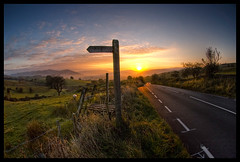 Sunrise over Cumbria (Paul M. Robinson) Tags: road morning sun rural sunrise geotagged countryside yorkshire hills fells signpost dales howgillfells a684 geo:lat=54324359 geo:lon=2609789