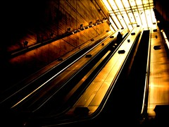 the occasional solitude of london (alternativefocus) Tags: solitude pentax tube bermondsey commuting londonunderground escalators pentaxk10d trashbit alternativefocus