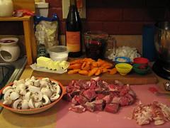Mise en place Beef Bourguignonne