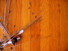 destroy/create (unaesthetic) Tags: wood home hub floor room low spokes record flange niples campagnolo crecord