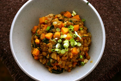 curried lentils with sweet potatoes