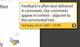 screen shot of buzzword comment box