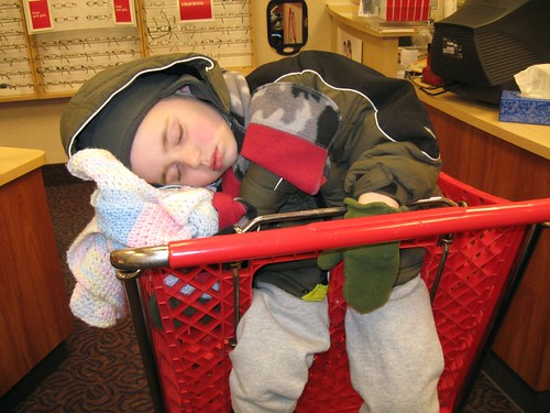 Tired boy at Target