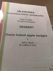 Owen baked apple wedges (hugovk) Tags: cameraphone winter apple sign suomi finland menu dessert nokia helsinki oven owen helsingfors february hvk 2008 talvi baked 8gb sodexho wedges uusimaa nyland n95 finnglish finglish uuniomena helmikuu hugovk camera:Make=nokia exif:Focal_Length=56mm exif:ISO_Speed=160 nokian958gb lohkot vaniljakastike vandwswitchup exif:Flash=offdidnotfire exif:Aperture=28 exif:Orientation=horizontalnormal exif:Exposure=134 camera:Model=n958gb owenbakedapplewedges meta:exif=1364137970