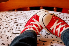 Shoes on the bed. (Dolly Phillips) Tags: converse chucks