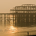 Brighton West Pier reflecting light