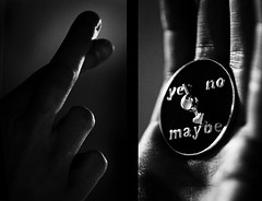 maybe not. (solecism) Tags: blackandwhite bw hope diptych no yes ring maybe xo shadesofgrey fib spinner goodluck indecisive multiplechoice maybenot maybenexttime crossyourfingers utata:project=taketwo2 thisisthewayimakedecisionsthesedays moreefficientthanamagic8ball