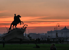 The Bronze Horseman (` Toshio ') Tags: sunset horse color water silhouette statue architecture bronze buildings river colorful russia riding luck lucky saintpetersburg horseback trampling pushkin horseman peterthegreat toshio russianfederation thebronzehorseman etiennefalconet aplusphoto admiralteyskayanaberezhnaya serpentoftreason proezddekabristov mednyyvsadnick