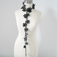 Petite Leaves Neck Garland Women Cotton Blend All Season Spring Summer Lariat/Fiber Necklace/Jewelry in Charcoal (kanokwalee) Tags: summer leaves scarf handmade unique crochet garland charcoal lariat necktie whimsical allseason scarflette fiberjewelry fibernecklace