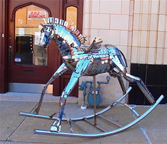 Pegasus Rocking Horse-3 (mragan) Tags: pegasus kansascity missouri rockinghorse shinything metalart 1800blockofmcgee popartsetting olympusxz1