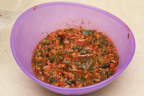 Annie's spaghetti sauce with spinach