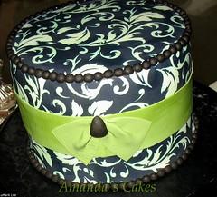 Gabriel Johnson Side Cake (mandotts) Tags: cake strawberry chocolate weddingcake bow raspberry vanilla ornate mossgreen fondant damask buttercream blackandcream fondantribbon gemmold fabricroller edibleprinter frostingsheets edibleink blackcakestands