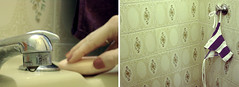 daily (catharine.) Tags: yellow bathroom purple drop retro amarelo gota azulejo roxo estampa biquini sabonete