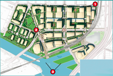 Top-down plan view of Village Griffintown