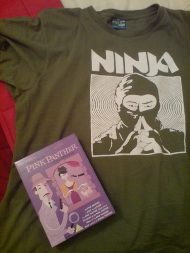Stuff :: charity shop tee and Pink Panther DVDs