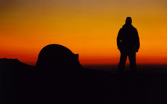 sundown (Ben Kimball) Tags: sunset orange mountains silhouette twilight tramonto sonnenuntergang sundown dusk laranja northcarolina backpacking 1995 crpuscule naranja ocaso nightfall arancione appalachiantrail afterglow northbound sundowner crepsculo 21days puestadelsol  eventide  zwielicht  at sleepunderstars stunningshot southernbald maxpatchmtn chillynose fantasticending dclindujour
