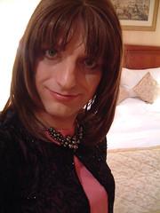 Stern Expression (justplainrachel) Tags: pink selfportrait london necklace tv rachel dress cd silk makeup crossdressing redhead tgirl jacket tranny transvestite lipstick crossdresser beaded xdress justplainrachel