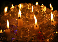 Fire & Ice (Canonshot Mole) Tags: light ice water diamonds fire frozen melting candles candle temperature gems icecube shimmer softlight smrgsbord thawing theunforgettablepictures tup2