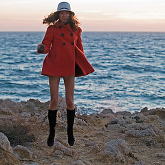The Mad Hatter (Sator Arepo) Tags: new sunset sea orange hat backlight fun happy evening coast reflex jump jumping funny boots coat year olympus newyear gloves mad 2008 zuiko redcoat happynewyear hatter e500 uro 50200mmed retofz090519 gettyimagesiberiaq3