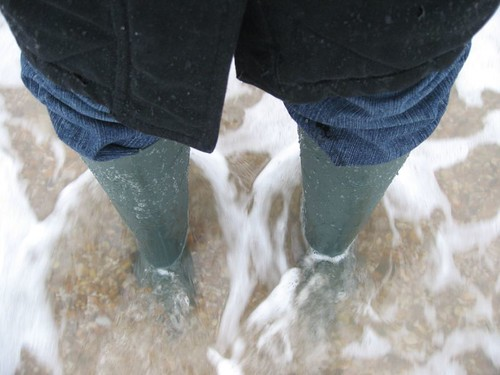 wellies in the sea