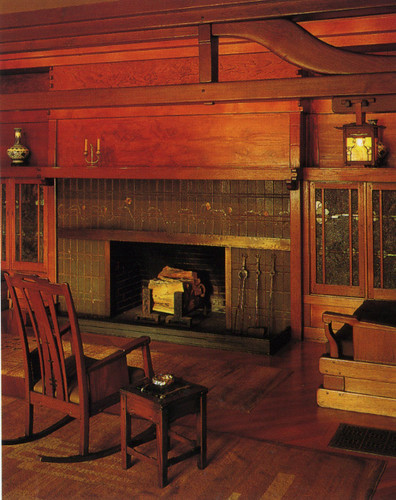 Gamble house, living room hearth