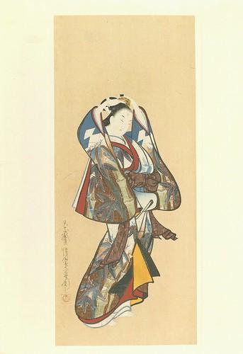 Una bella dama rascandose la cabeza- artista Chôyôdô