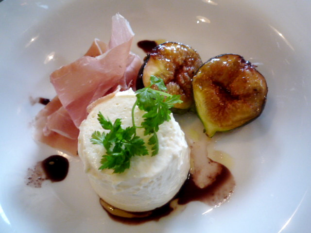 Creme fraiche and gorgonzola panna cotta with prosciutto and honey cardamom roasted figs