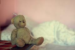 ;) (K3m.) Tags: bear pink colors childhood toy 50mm dof bokeh iso400 f14 room teddybear sit usm boke ultrasonic kolory mi pokj k3m rowy zabawka dziecistwo sdof canoneos50d k3em siedzcy canoneff1450mmusm siedzie shortdepthoffocus