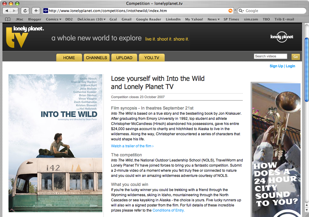 Into the Wild Lonely Planet contest screenshot