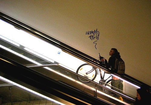 Bike. Escalator. Tag.