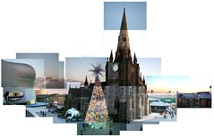 Christmas St Martins (dan-ish) Tags: christmas xmas city uk urban clock church composite shopping festive town mix birmingham mess dusk many centre mashup seasonal christmastree selfridges join danish messy stick merry wonky festivities celebrate hockney joiner lots mash brum dma fragment disjointed chrimbo hallett dan0ish danmorrisadams morrisadams