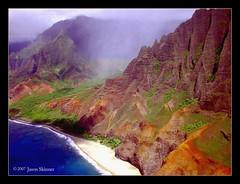 Na Pali Coast (skinr) Tags: travel mist mountain green beach fog hawaii aerial helicopter pacificocean kauai tropical jagged lush slope steep napalicoast hawaiianislands skinr wwwjskinnerphotocom