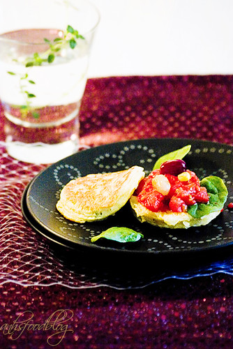 Corn Pancake with Slow-baked Tomatoes and Salted Grapes
